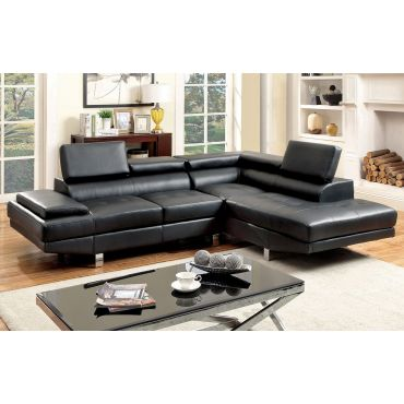 Renata Black Leather Sectional Couch
