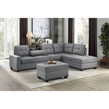 Renton Grey Microfiber Sectional Sofa