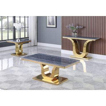 Reyna Marble Top Coffee Table Gold Finish
