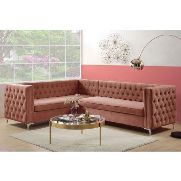 Reynor Dust Pink Velvet Sectional Sofa