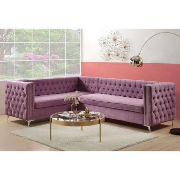 Reynor Tufted Purple Velvet Sectional
