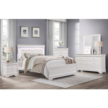 Rhonda White Finish Bed With Lights