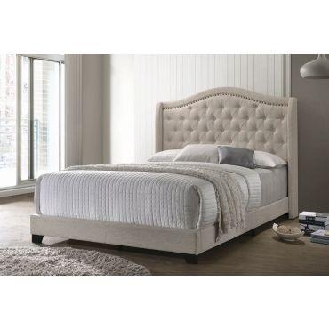 Rialta Beige Linen Fabric Bed