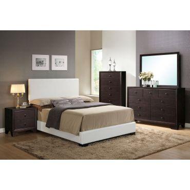 Ridge White Leather Bed