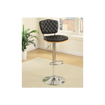 Riga Black Leather Bar Stool Set of 2