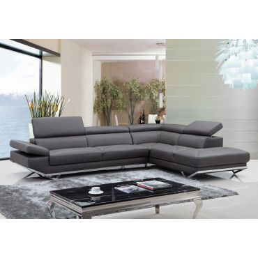 Rigatto Modern Sectional Gray Eco Leather