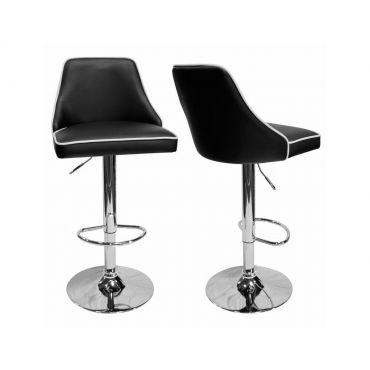 Riya Black Leather Barstool Set of 2