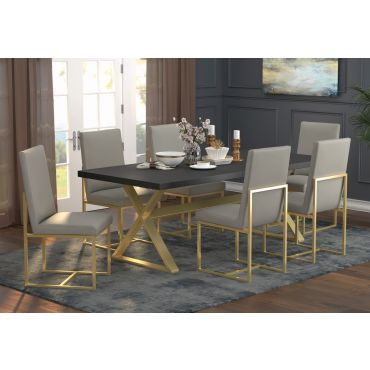 Robey Gold Finish Dining Table Set