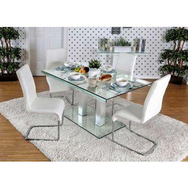Rolien Modern Glass Top Table Set