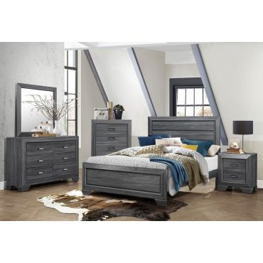 Rollan Rustic Grey Modern Bed