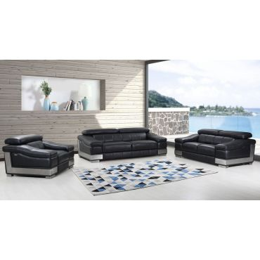 Rosetta Black Genuine Leather Living Room