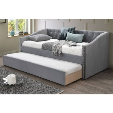 Rossburg Grey Velvet Daybed With Trundle