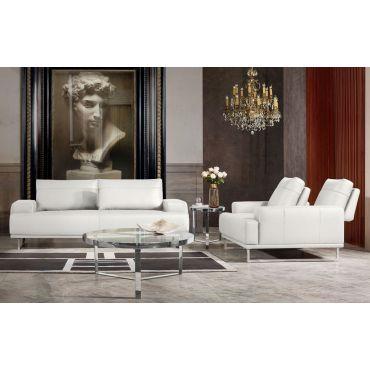 Bradly Modern White Leather Sofa