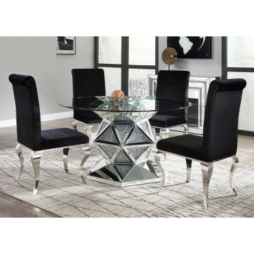 Rutledge Round Mirrored Table With Crystals