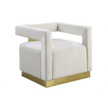 Saba Beige Velvet Modern Accent Chair