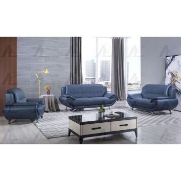 Sabina Blue Leather Living Room