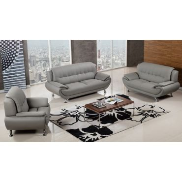 Sabina Modern Grey Leather Living Room