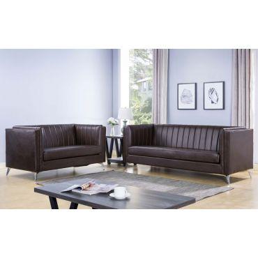 Samira Espresso Leather Sofa Set