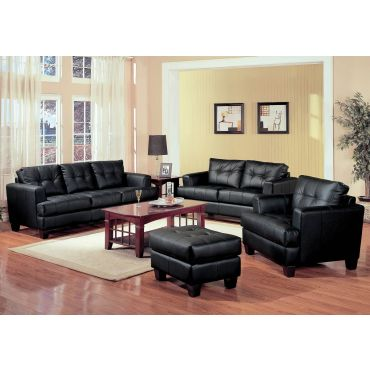 Samuel Black Leather Sofa Collection