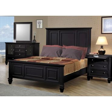 Sandy Beach Black Finish Bedroom Set