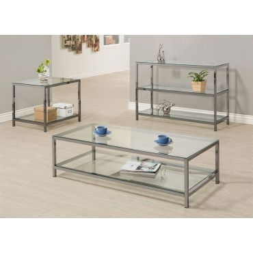 Sansa Black Nickel Finish Coffee Table
