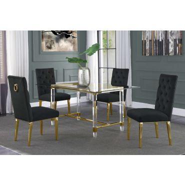 Sarey Gold Finish Dining Table Set