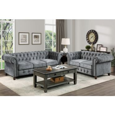 Sasha Grey Velvet Chesterfield Sofa Set
