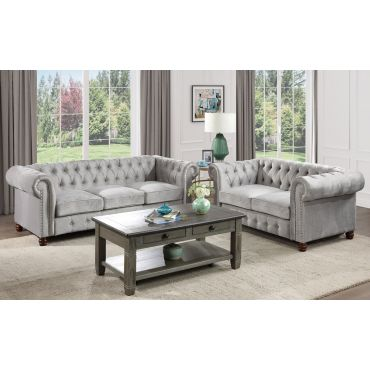 Sasha Textured Velvet Chesterfield Sofa Set