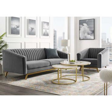 Saskia Grey Velvet Sofa Gold Legs