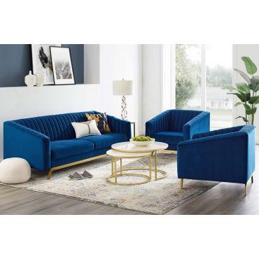 Saskia Navy Blue Velvet Modern Sofa Set