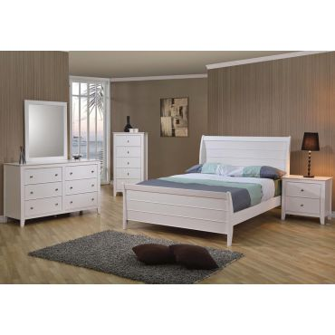 Serena White Finish Bed Collection