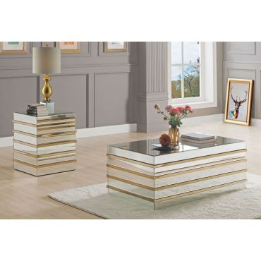 Selyn Mirrored Coffee Table With Gold Accents