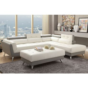 Serenity Two Tone Leather Modern Sectional