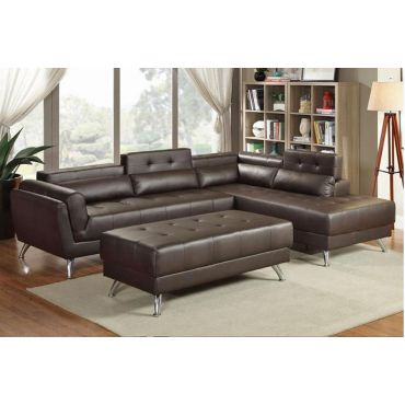 Serenity Espresso Leather Modern Sectional