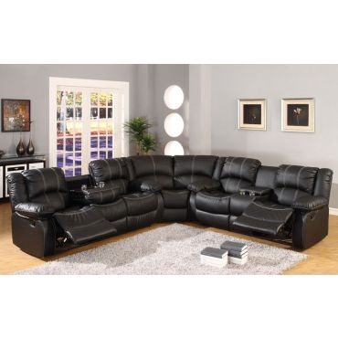 SF3591 Black Leather Recliner Sectional