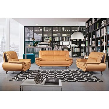 Shania Yellow Leather Living Room Set