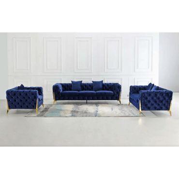 Sheila Tufted Navy Sofa Set