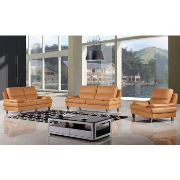 Sidon Camel Sofa Set Top Grain Leather