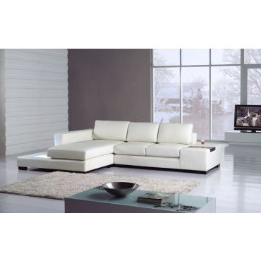 Sigma White Leather Sectional Sofa