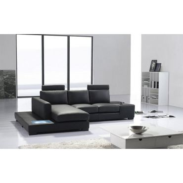 Sigma Black Leather Sectional Sofa