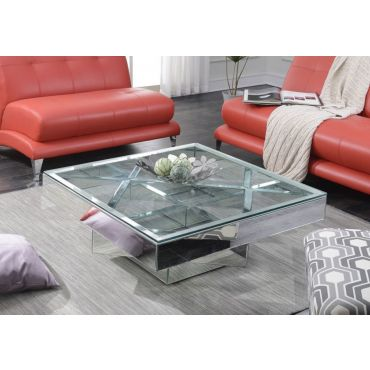 Silvera Modern Mirrored Coffee Table