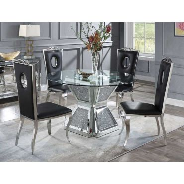 Silvertone Round Mirrored Dining Table