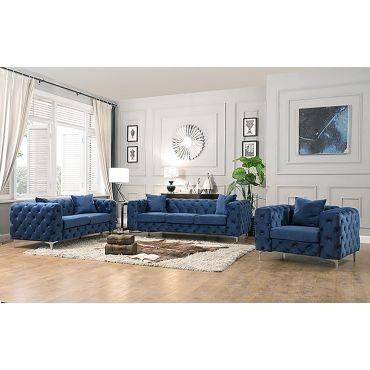 Simone Button Tufted Blue Velvet Sofa