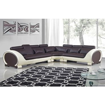 Skye Brown and Beige Modern Sectional