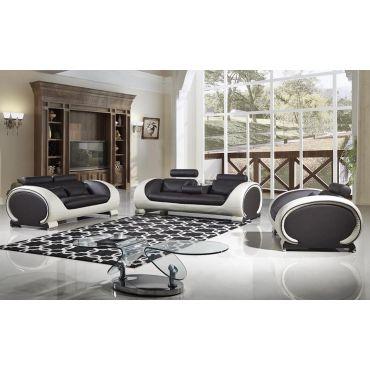 Skye Chocolate Leather Sofa Set,Skye Sofa With Drop Down Table