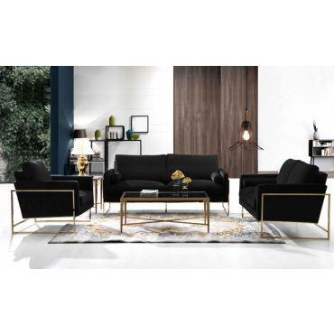 Sorrento Black Velvet Fabric Modern Sofa Set