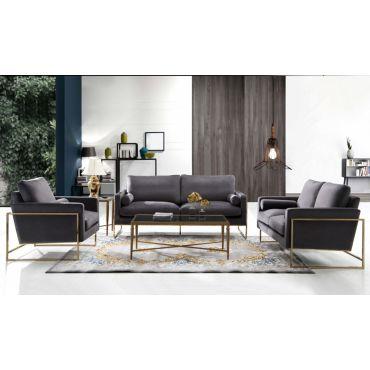 Sorrento Grey Velvet Sofa Set With Gold Frame