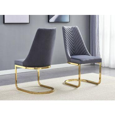 Stanford Grey Velvet Dining Chairs Gold