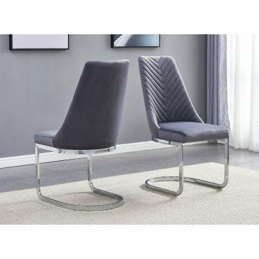Stanford Grey Velvet Dining Chairs Chrome