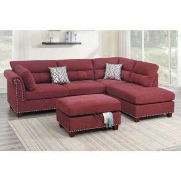 Stanza Red Velvet Reversible Sectional